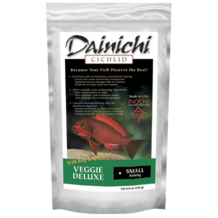 Dainichi Fish Food 12412 Veggie Deluxe Sinking Small Cichlid Fish Food, 8.8 oz (Veggie Sink)