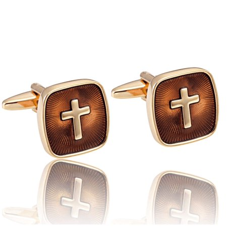 Amazing Mens Stainless Steel Cufflinks with Golden Holy Cross