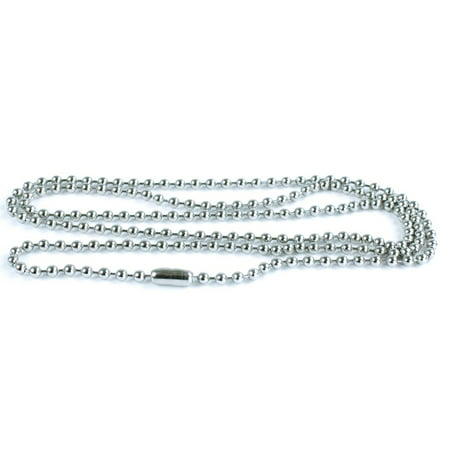 - 50 Pack Silver Ball Chain Dog Tag Necklace – 24 Inch Long 2.4mm Bead Size – Adjustable Metal Bead Chain Matching Connector