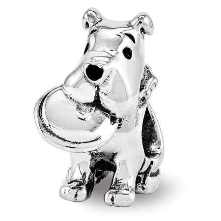 Lex & Lu Sterling Silver Reflections Dog With Flying Disc Bead