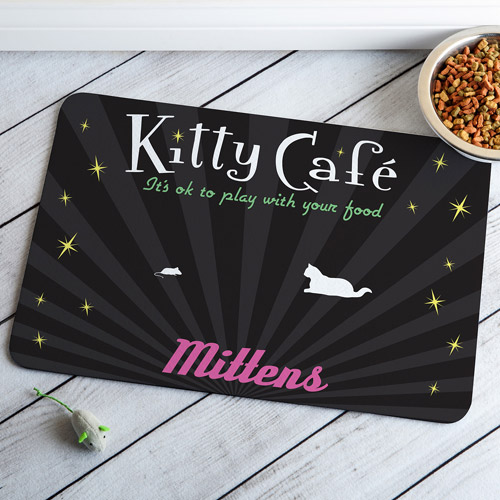 Personalized Kitty Cafe Meal Mat, Black