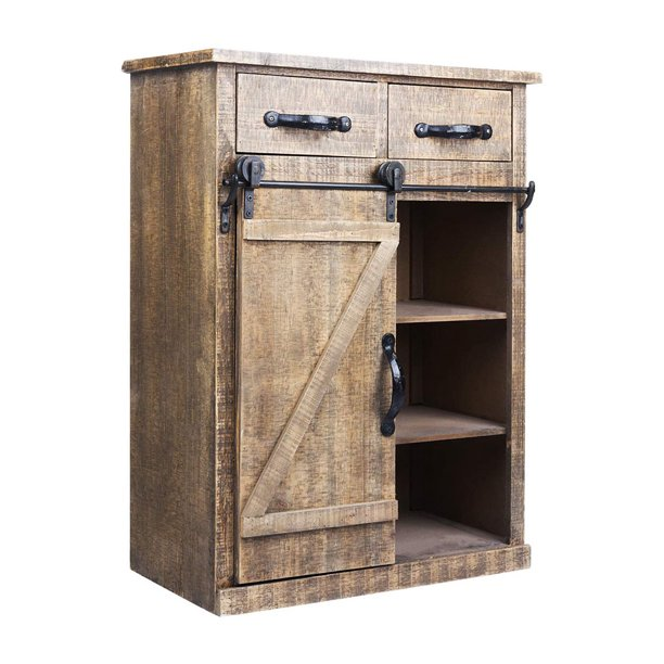 "SEGMART Entryway Cabinet with Storage for Living Room, 24"" x 13"" x 32"" Rustic Finish Modern Farmhouse Sliding Barn Door Console with 2 Drawers and 3 Shelves for Storing Books, Blankets, Towels, S9993"