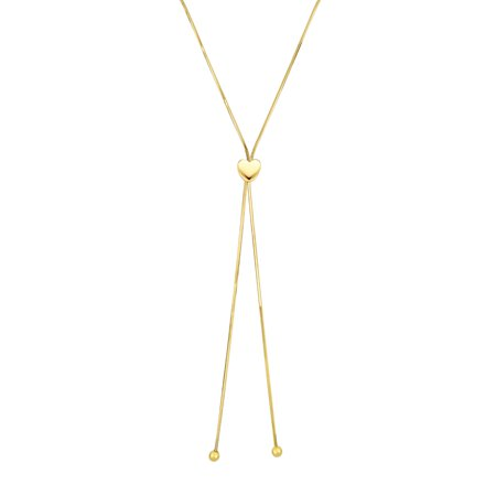 - 14K Yellow Gold Snake Chain Center Heart Lariat Necklace 24