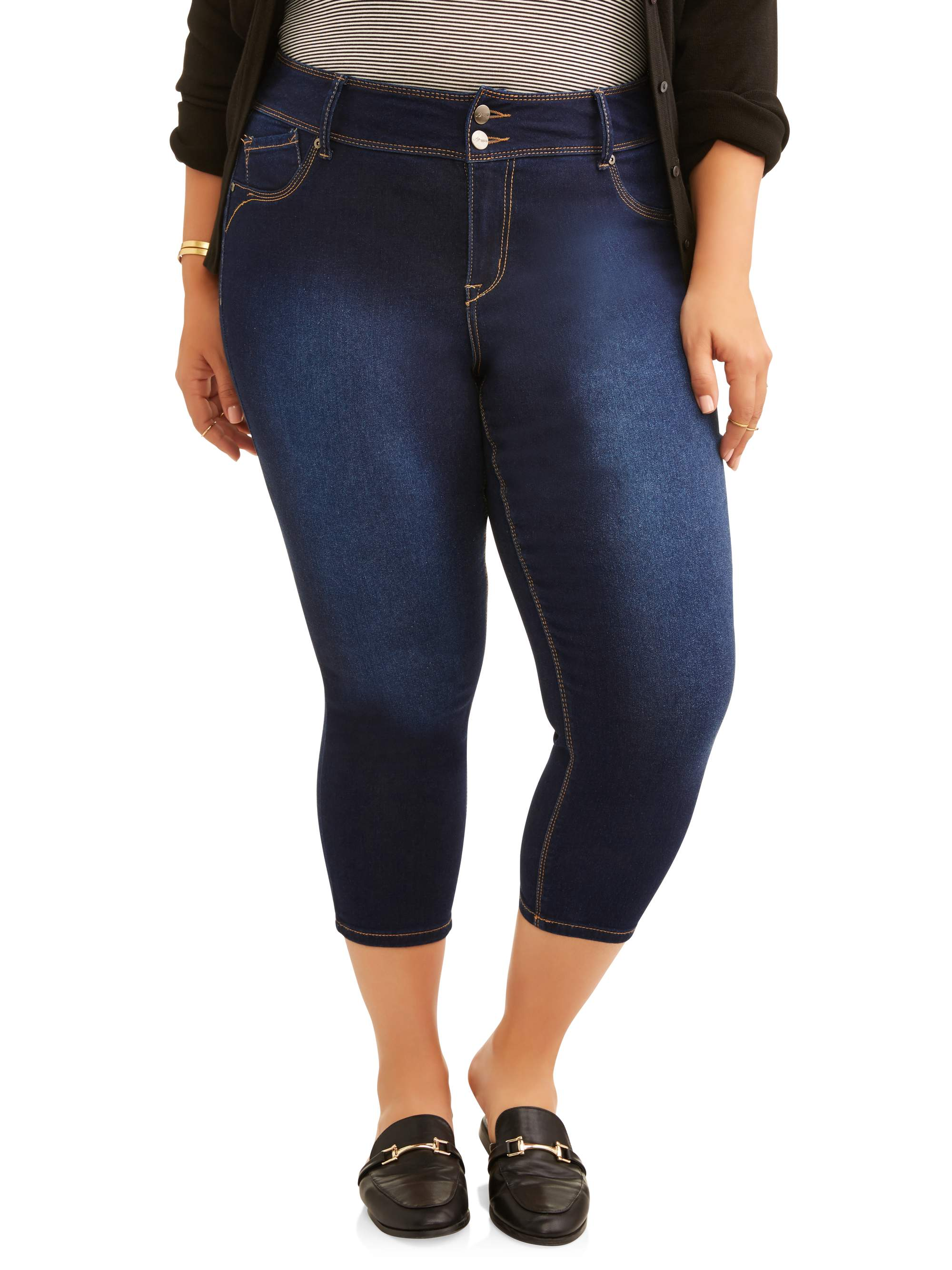 A3 Denim Women's Plus Double Button Crop Skinny