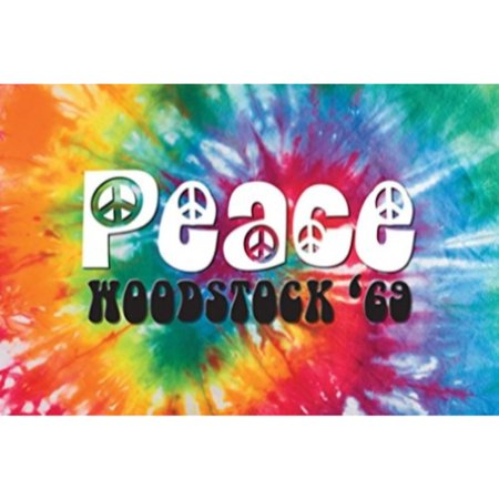 Woodstock - Peace 69 Decorative Sign 36x24 Art Print Poster   Festival Tie Dye Bright