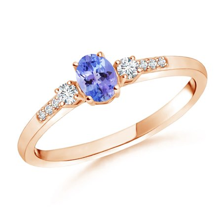 December Birthstone Ring - Classic Oval Tanzanite and Round Diamond Three Stone Ring in 14K Rose Gold (5x3mm Tanzanite) -