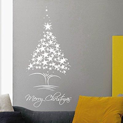 christmas tree wall decorations ideas holiday vinyl sticker home living room shop window door decor mr846