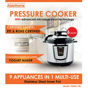 AbleHome 9 in 1 Electric Pressure Cooker 6 Qt 1000W Multi-Use Stainless Steel Yogurt Maker, Slower Cooker, Rice Cooker, Saute, Steamer, Warmer Comparable to Instant Pot