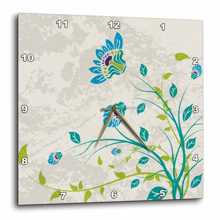 Nouveau Green (3dRose Lime Green Blue Turquoise and Purple Art Nouveau Style Flowers On Grunge Floral Decorative Nature, Wall Clock, 13 by)