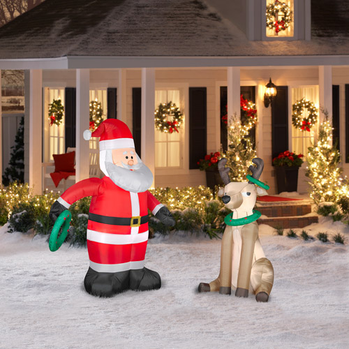 Airblown Inflatables 5.5' Santa and Reindeer Ring Toss Combo Pack