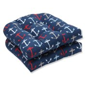 Pillow Perfect Outdoor/ Indoor Anchor Allover Arbor Navy Wicker Seat Cushion (Set of 2)