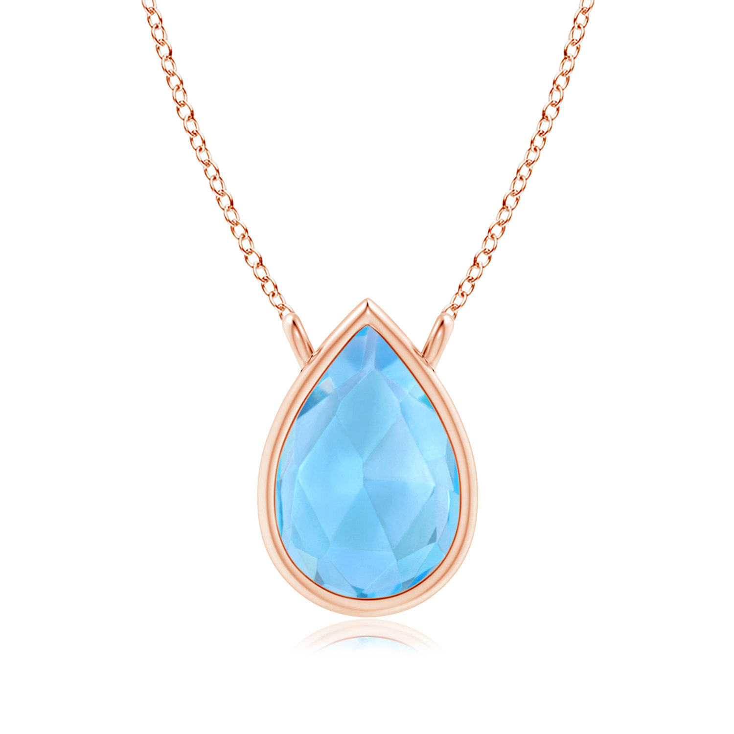 November Birthstone Pendant Necklaces Pear-Shaped Swiss Blue Topaz Solitaire Necklace in 14K Rose Gold (6x4mm Swiss Blue... by Angara.com
