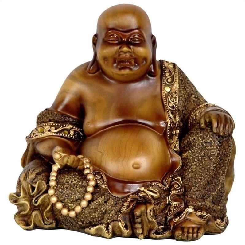 """6"""" Sitting Laughing Buddha Statue by Oriental Furniture"""