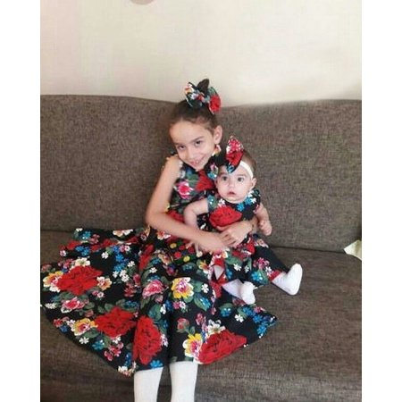Kid Baby Girl Sister Matching Clothes Princess Floral Party Prom Bowknot Dress - image 4 of 5