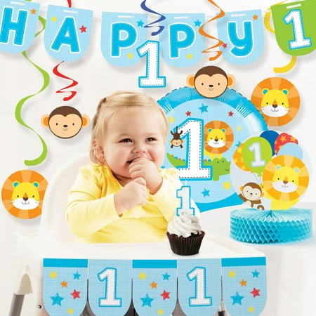 One is Fun Boy 1st Birthday Party Decorations Kit - 1st Birthday Party Supplies For Boys