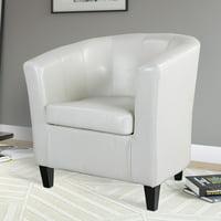 CorLiving Antonio Bonded Leather Tub Chair, Creamy White