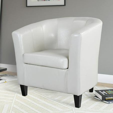 CorLiving Antonio Bonded Leather Tub Chair, Creamy White ()