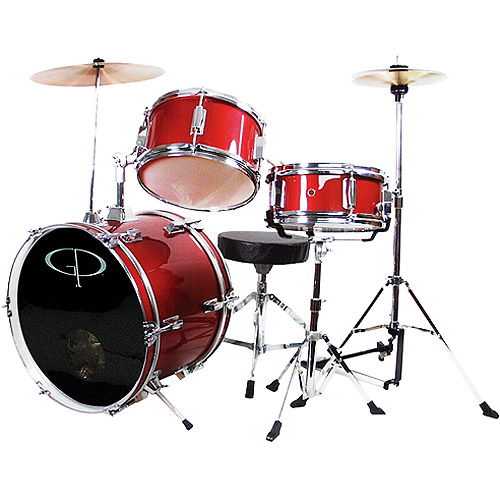 GP Percussion 3-Piece Complete Junior Drum Set, Metallic Red