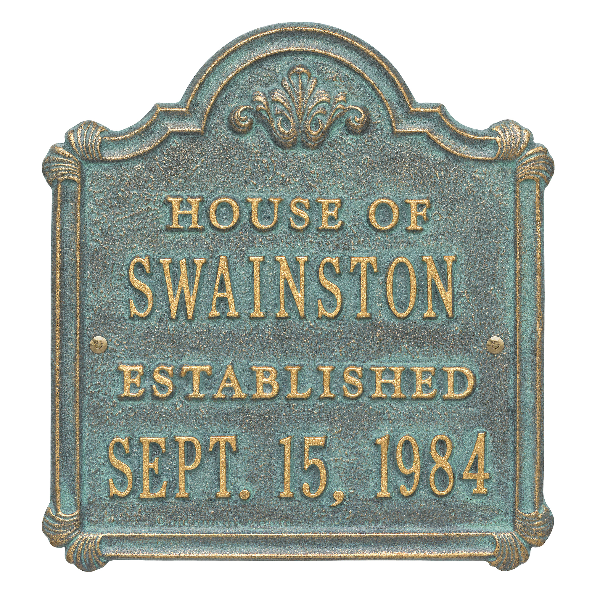 Personalized Whitehall Products Chatham Wedding/Anniversary Plaque with Bronze/Verde Finish