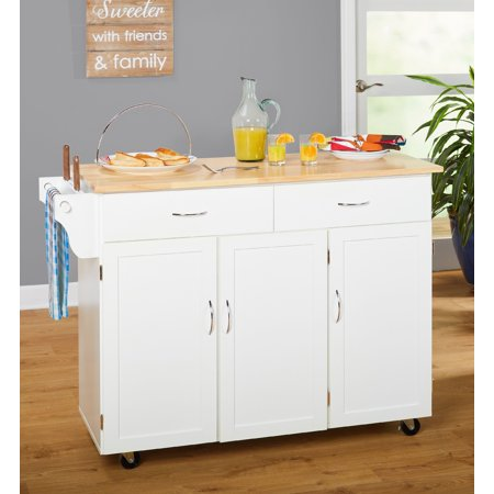 Extra Large Kitchen Cart White With Wood Top Box 1 Of 2