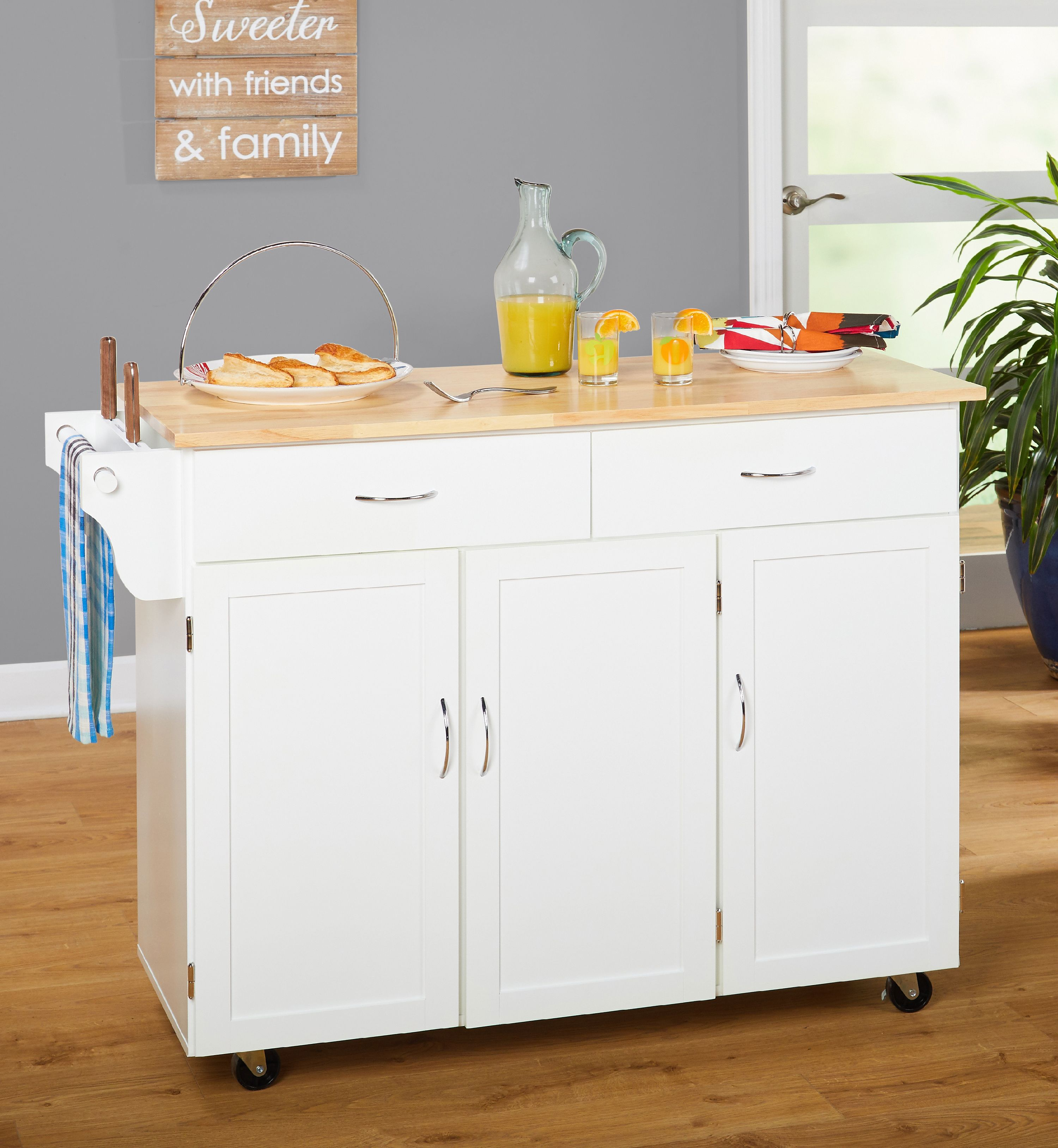 Extra Large Kitchen Cart, White with Wood Top (Box 1 of 2)