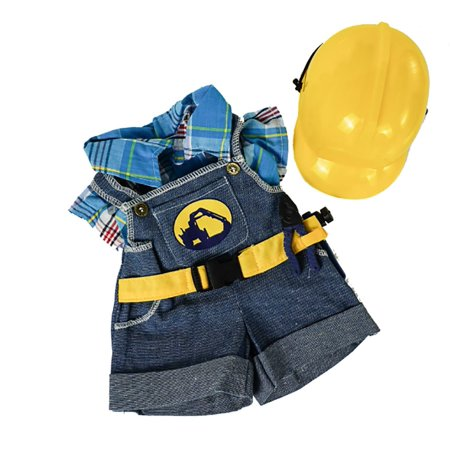 Construction Worker with Hard Hat Outfit Teddy Bear Clothes Fits Most 14
