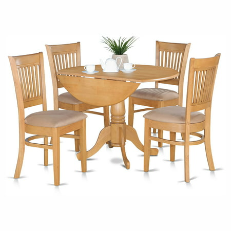 East West Furniture Dublin 5 Piece Drop Leaf Dining Table Set with Vancouver Microfiber Seat Chairs ()