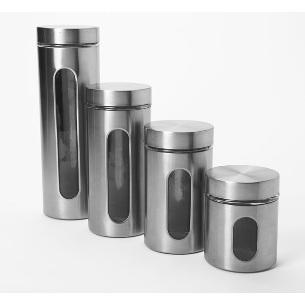 Charmant Anchor Hocking Food Canisters 4 Piece Palladian Window Set In Stainless  Steel 97564A   Walmart.com