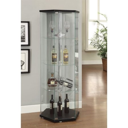 Glass Steel Cabinet (Kingfisher Lane Hexagon Glass Curio Cabinet in Black)