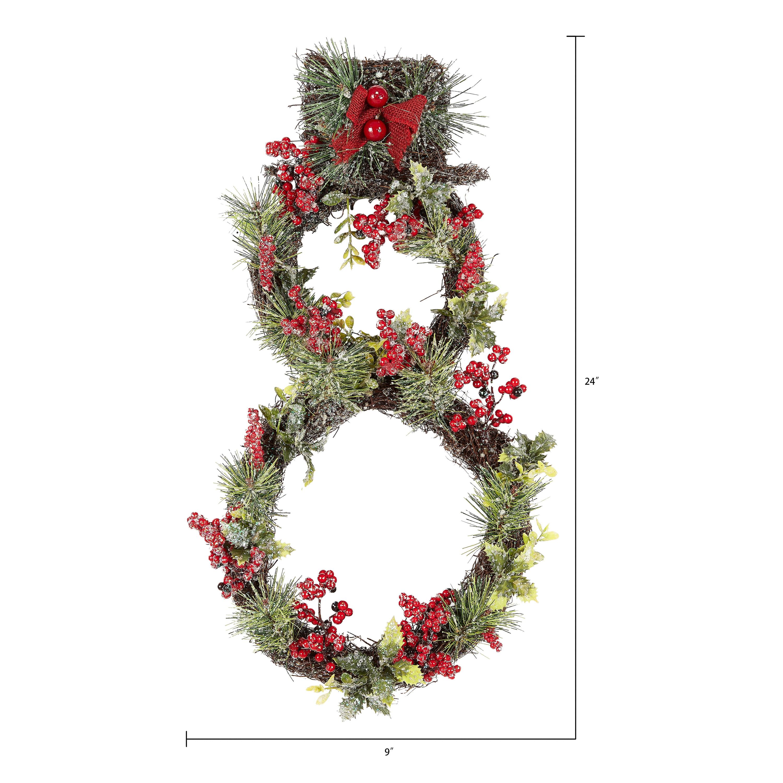 Holiday Time Multicolor Snowman Christmas Wreath 24 In Walmart Com Walmart Com