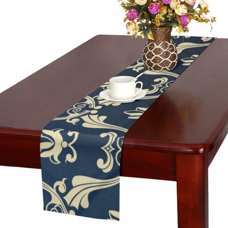 YUSDECOR Blue gold pattern Table Runner for Kitchen Wedding Party Home Decor 14x72 inch - image 1 de 4