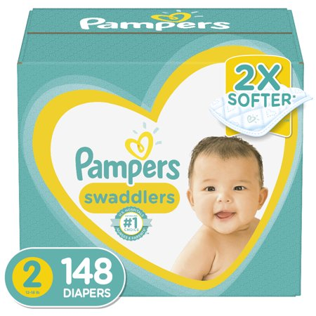 Pampers Swaddlers Soft and Absorbent Diapers, Size 2, 148 Ct