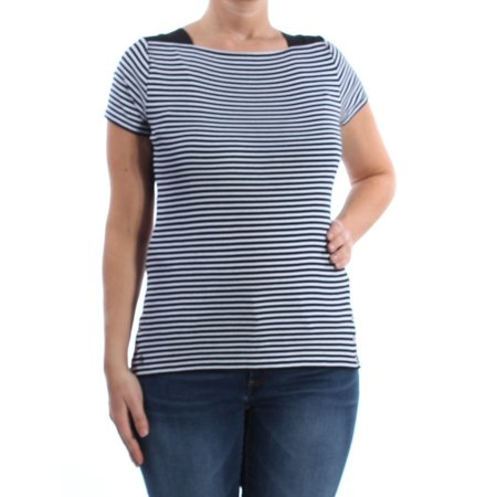 RALPH LAUREN Womens Black Striped Short Sleeve Boat Neck Top Size: L