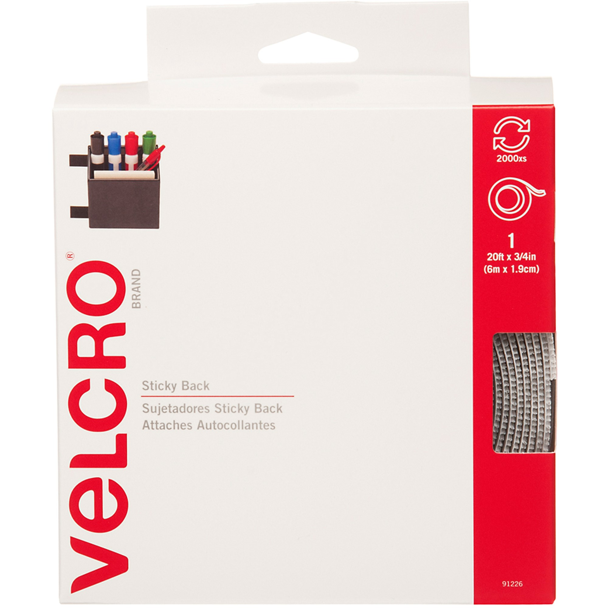 VELCRO Brand Sticky Back 20ft x 3/4in Roll, White