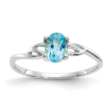 10kt White Gold Blue Topaz Birthstone Band Ring Size 7.00 Stone December Oval Style Fine Jewelry Ideal Gifts For Women Gift Set From Heart