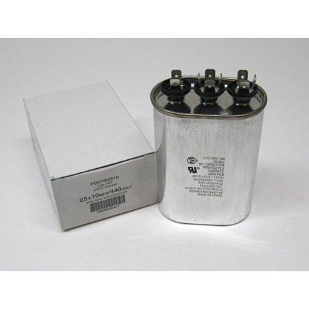 TitanPro TOCFD2510 HVAC Oval Motor Run Dual Capacitor 25 10 MFD UF 440