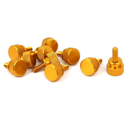 Uxcell M4x10mm Computer PC Case Shoulder Type Knurled Thumb Screw Gold Tone (10-pack)