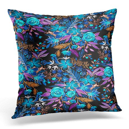 ARHOME Floral Pattern with Wild Flowers Brier Roses Poppies Daisies and Other Botanical Glowing Neon Colors Pillow Case Pillow Cover 20x20 - Neon Daisy