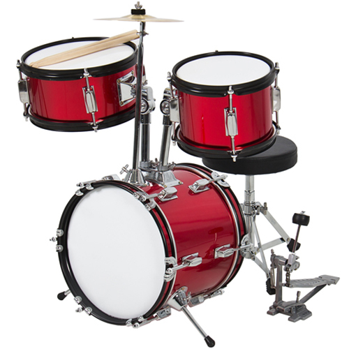 """Kids Drum Set 3 Pc 13"""" Beginners Complete Set with Throne, Cymbal and More- Red"""