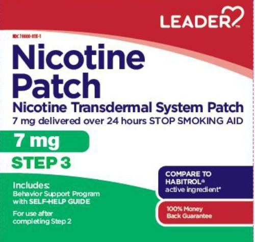 Leader Nicotine Transdermal Patch, Step 3, 7mg, 7ct 096295129687A1050