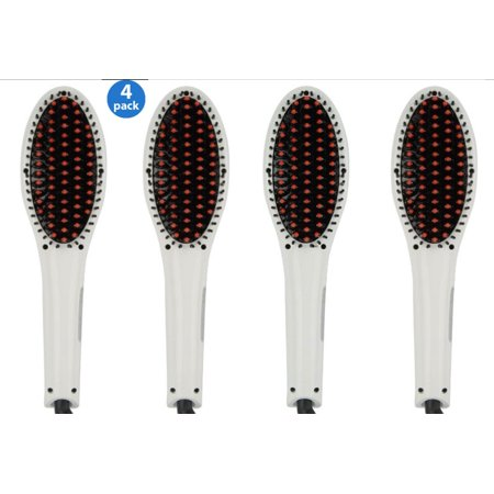 4 Pack Professional Hair Straightener Brush -ION heating technology, Temperature