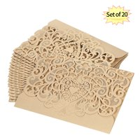 20pcs/set Wedding Invitation Card Cover Pearl Paper Cut Hollow Heart Pattern Invitation Cards Wedding Anniversary Supplies--Gold