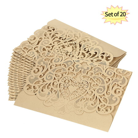 20pcs/set Wedding Invitation Card Cover Pearl Paper Laser Cut Hollow Heart Pattern Invitation Cards Wedding Anniversary (Cut Card)