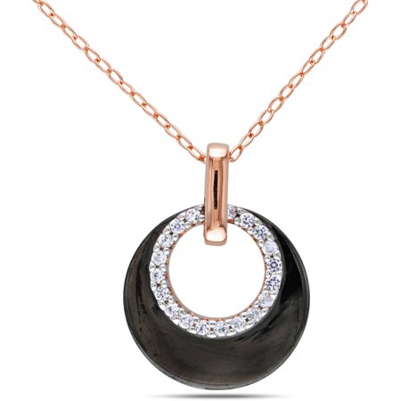 - 1/5 Carat T.G.W. Created White Sapphire Two-Tone Sterling Silver Circle Pendant, 18