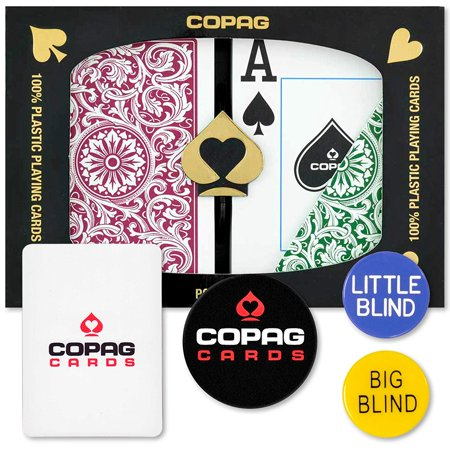 (Dealer Kit - Poker Size, Jumbo Index - Green & Burgundy, 100% Plastic Playing Cards By Copag)