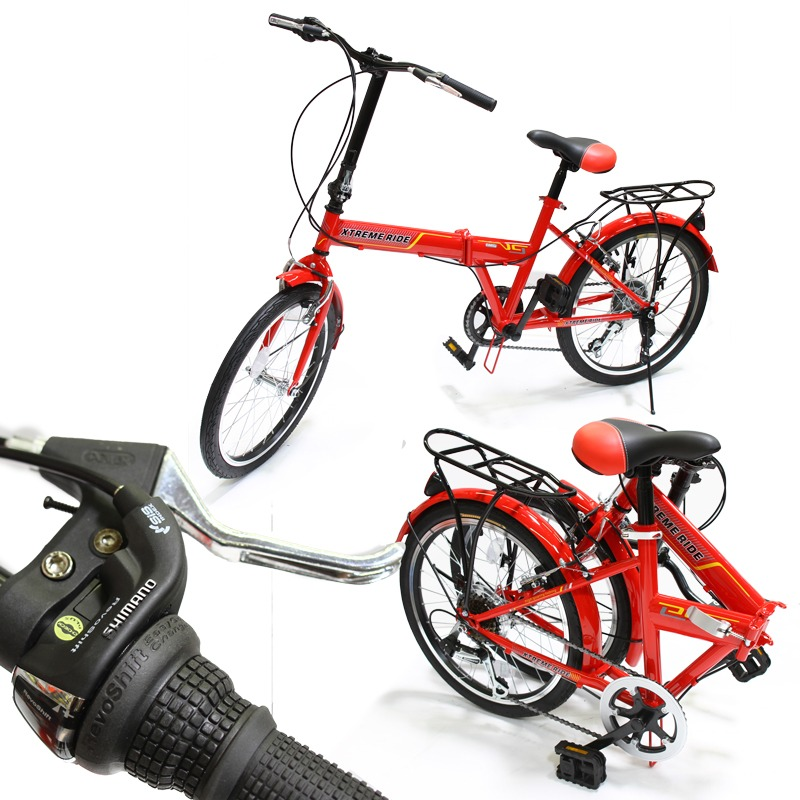 "20"" Folding Bike 6 Speed Bicycle Fold Storage School Sports Shimano, Red"