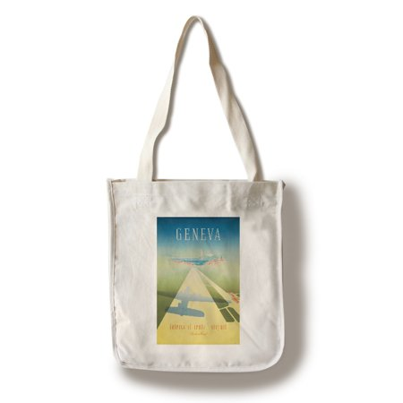 Geneva - Intercontinental Airport Vintage Poster (artist: Mahrer) Switzerland c. 1949 (100% Cotton Tote Bag - Reusable)