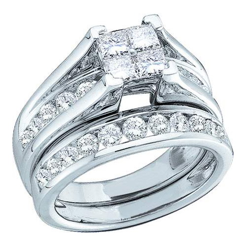 10K White Gold 0.52ctw Channel Diamond Princess Cut Bridal Set Engagement Ring