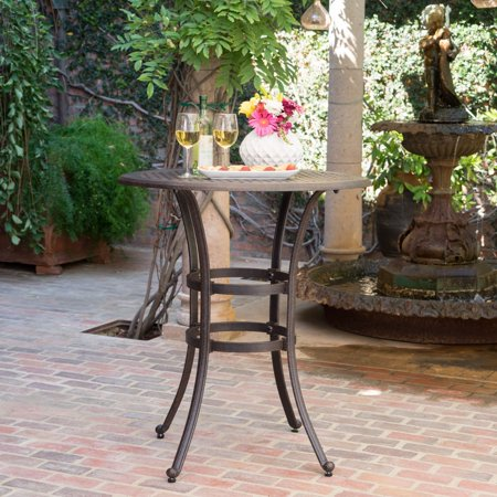 Christopher Knight Home Alfresco Outdoor 37-inch Cast Aluminum Round Bar Table with Umbrella Hole by