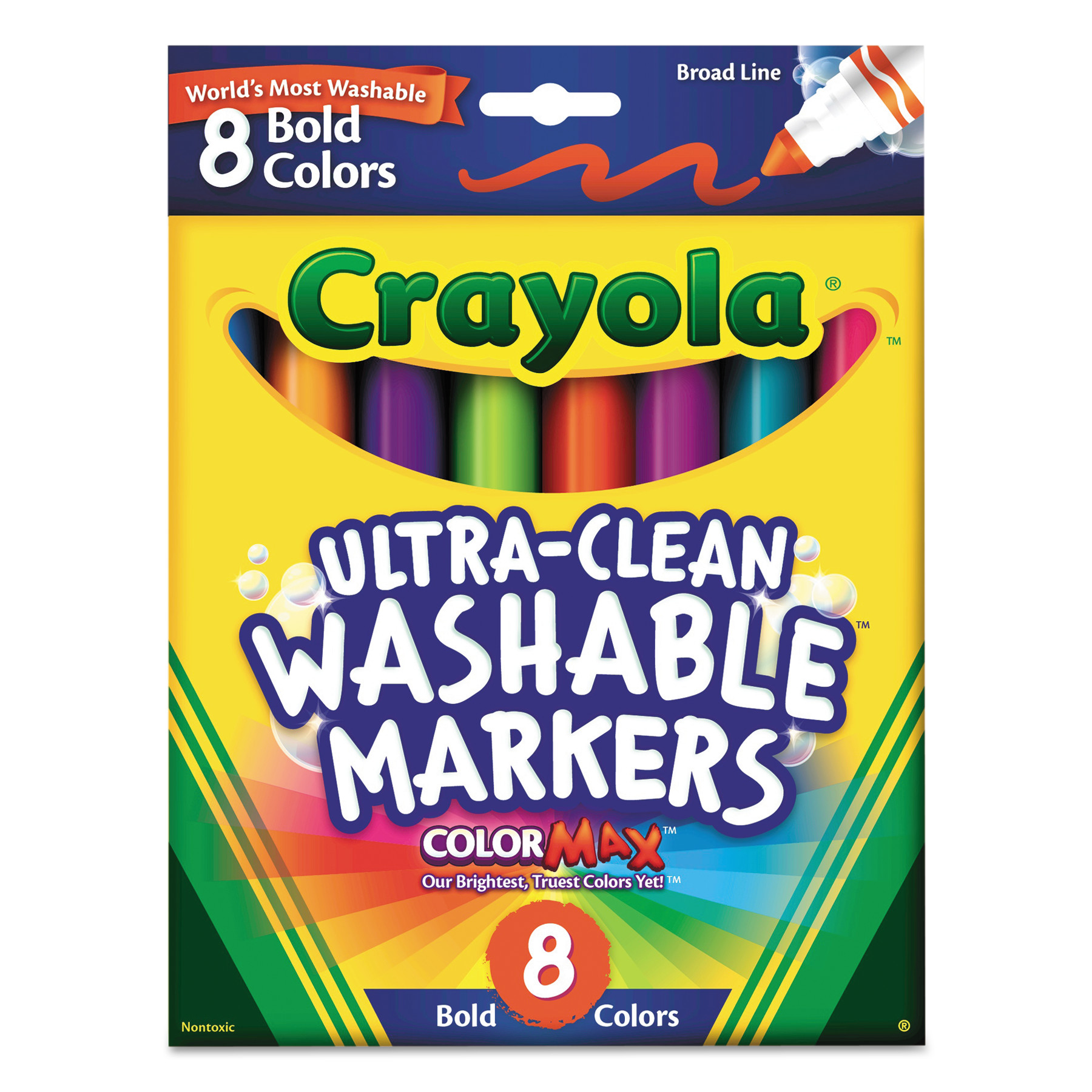 Crayola Washable Markers, Broad Point, Bold Colors, 8 Set by BINNEY & SMITH / CRAYOLA